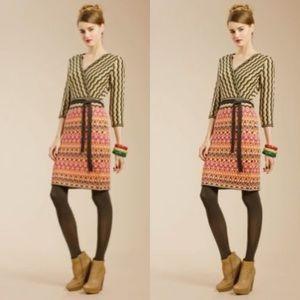Trina Turk Faux Wrap Wool Midi Dress